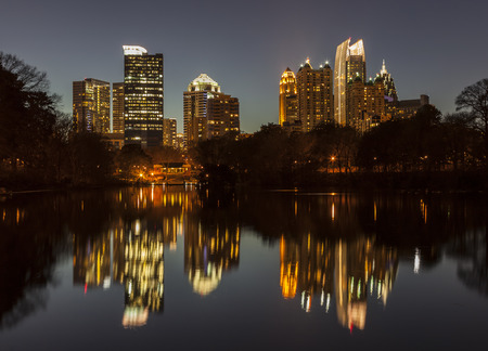 Night view of midtown Atlanta from Piedmont park. photo