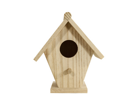 birdhouse: Small wood birdhouse isolated with clipping path. Stock Photo