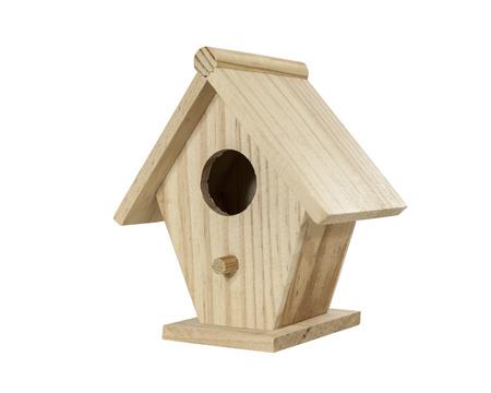 birdhouse: Little wood birdhouse isolated on white.