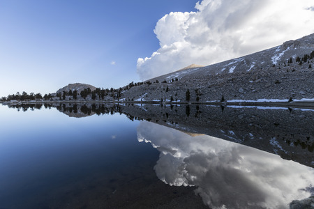cirque: Calm waters at Cirque in the Sierra Nevada Mountains backcounty.   Stock Photo
