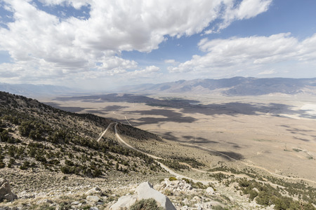 owens valley: Sweeping vista towards Lone Pine and the Alabama Hills in Californias Owens Valley. Stock Photo