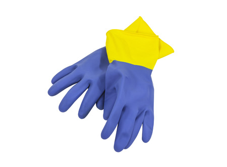 Heavy duty household rubber cleaning gloves. Stock Photo