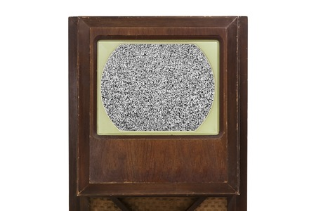 static: Vintage television with static filled screen. Stock Photo