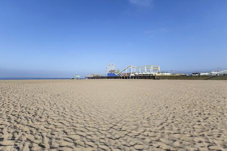 southern california: Famous Santa Monica Beach in Southern California. Stock Photo