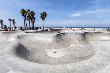 skate board: Editorial view of the Venice Beach public skate board park in Los Angeles, California  Editorial