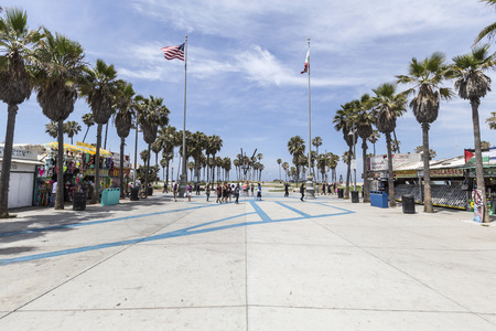 Editorial view of the funky Windward plaza at Venice Beach in Los Angeles, California