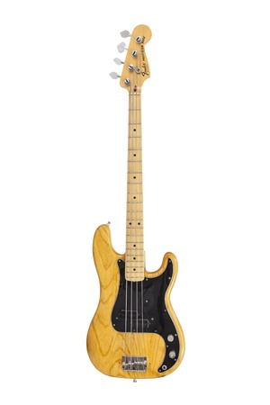 LOS ANGELES, CALIFORNIA - June 19, 2014:  Illustrative editorial photo of vintage Fender Precision electric bass guitar on white background.