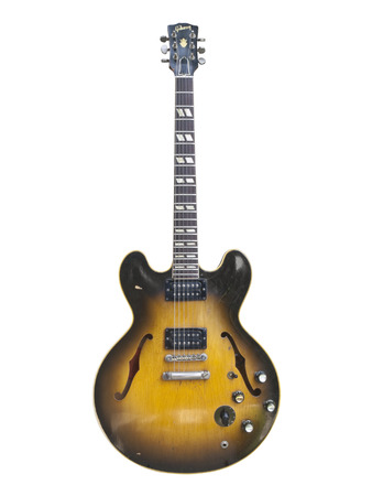 illustrative: LOS ANGELES, CALIFORNIA - July 26th, 2009:  Illustrative editorial photo of a vintage 1959 Gibson ES 335 hollow body stereo electric guitar.