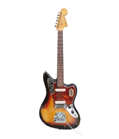 Los Angeles, California, USA - August 26th, 2009:  Vintage Fender Jaguar electric guitar with heavy wear from decades of use.