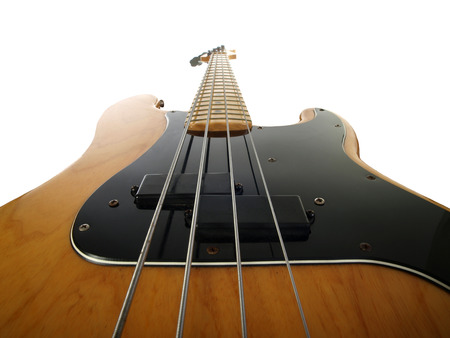 illustrative editorial: LOS ANGELES, CALIFORNIA - August 21, 2009:  Illustrative editorial photo of a vintage Fender Precision electric bass guitar. Editorial