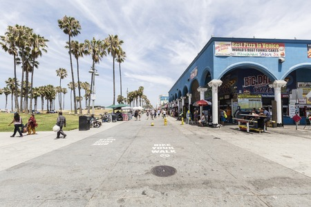 Editorial view of Southern Californias famously funky Venice Beach boardwalk.