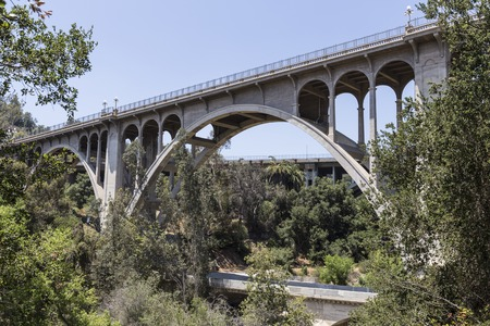 Historic Colorado Blvd bridge in Pasadena, California. Stock Photo