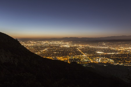 Night view of Burbank and North Hollywood in Los Angeles