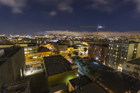 San Francisco, California, USA - July 5, 2014:  Night cityscape of South of Market neighborhood in urban downtown San Francisco, California.