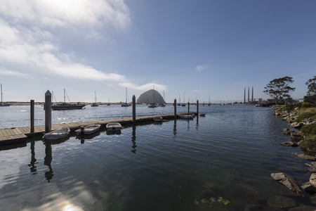 Small boats anchored in scenic Morro Bay on the central California coast
