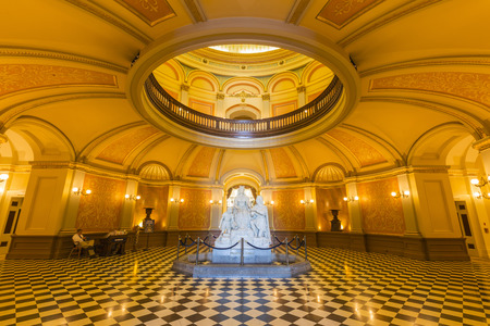 Editorial view of the California State Capitol rotunda. Editorial