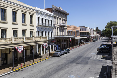 SACRAMENTO, CALIFORNIA - July 4, 2014:  Editorial view of old Sacramentos historic storefronts.   Editorial