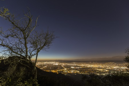 Mountain top night view of Burbank and North Hollywood, California    Stock Photo
