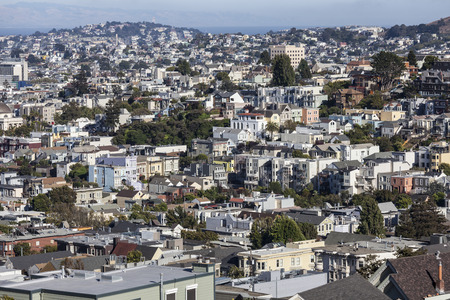Dense hillside housing in urban San Francisco, California