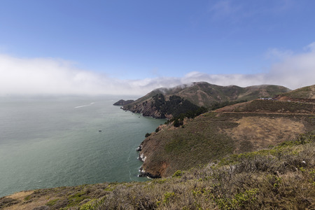 Big Sur California foggy mountain vista  Stock Photo