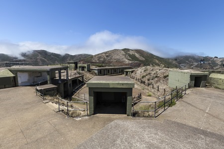 Old military bunkers in San Franciscos Golden Gate National Recreation Area.   Stock Photo