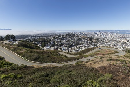 Twin Peaks Blvd view above downtown San Francisco, California Stock Photo