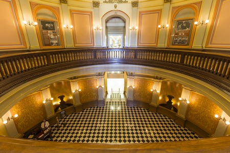 california state: Sacramento, California, USA - July 4, 2014:  Stately rotunda inside Californias historic state capitol building in Sacramento.