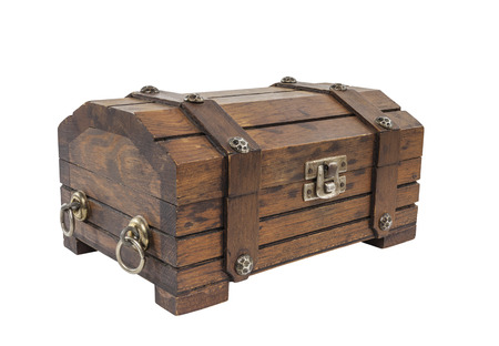 Vintage toy treasure chest with clipping path. Stock Photo