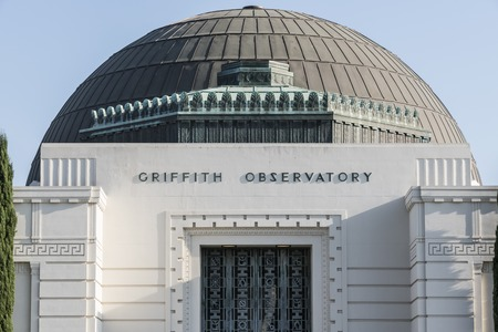 LOS ANGELES, CALIFORNIA - August 8, 2014:  Iconic art deco dome on the historic city owned Griffith Observatory above Hollywood.
