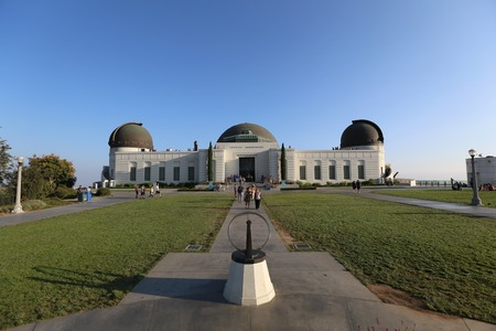 Los Angeles, California, USA - August 8, 2014:  Summer tourists visit Los Angeless iconic city owned Griffith Park Observatory.