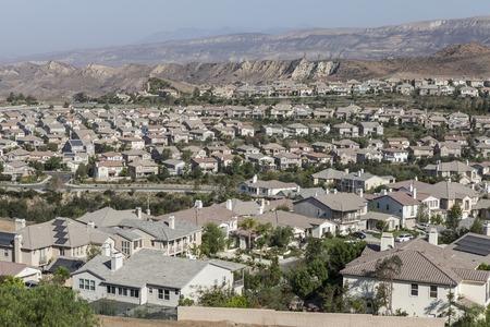 Neighborhood of bright new homes in Ventura Countys Simi Valley near Los Angleles, California.