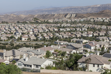 Neighborhood of bright new homes in Ventura Countys Simi Valley near Los Angleles, California.