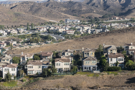 California hillside suburbia near Los Angeles in Ventura Countys Simi Valley.