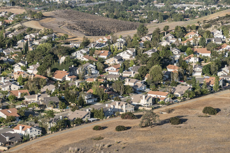 Edge of suburbia near Los Angeles in Simi Valley, California.   Stock Photo