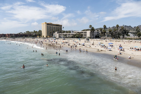 central california: Editorial view of summer holiday crowds enjoying the Pacific ocean at Ventura Beach in Southern California.