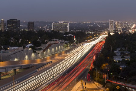 time lapse: San Diego Freeway running through the west side of Los Angeles, California.