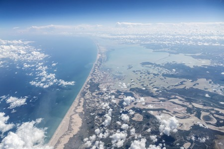Aerial of the Yucatan coast in the Gulf of Mexico.