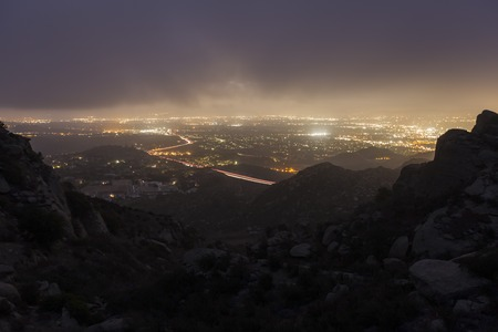 Predawn fog at Rocky Peak Park above the San Fernando Valley in Los Angeles, California. photo