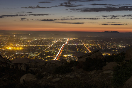 rocky peak: View of Los Angeles suburb Simi Valley from Rocky Peak mountain park in southern Ventura County.