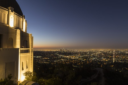 griffith: LOS ANGELES, CALIFORNIA - September 30, 2014:  Dawn view of downtown Los Angeles from LAs famous Griffith Park Observatory.