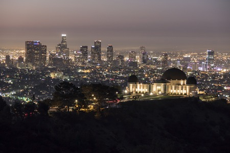griffith: LOS ANGELES, CALIFORNIA - October 5, 2014:  Griffith Observatory and downtown Los Angeles at dawn.   Editorial