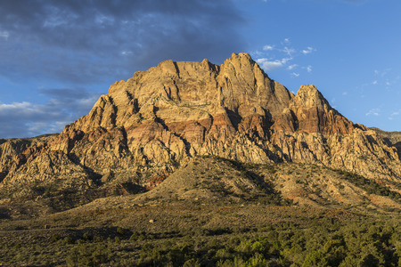 wilson: Dawn light on Mt Wilson in Red Rock National Conservation Area near Las Vegas, Nevada.