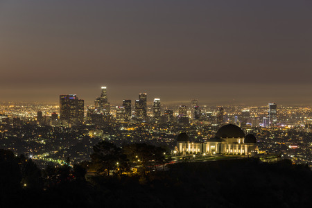griffith: Griffith Observatory and downtown Los Angeles before dawn.