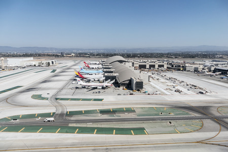 Large planes lined up at the newly renovated Tom Bradley terminal at LAX. Editorial