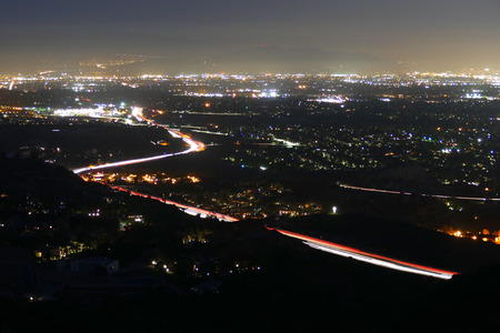 ronald reagan: Night view of the San Fernando Valley in Los Angeles, California.