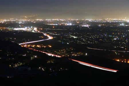 northridge: Night view of the San Fernando Valley in Los Angeles, California.