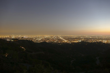 griffith: Night view of Los Angeles from Griffith Park hiking trail. Stock Photo