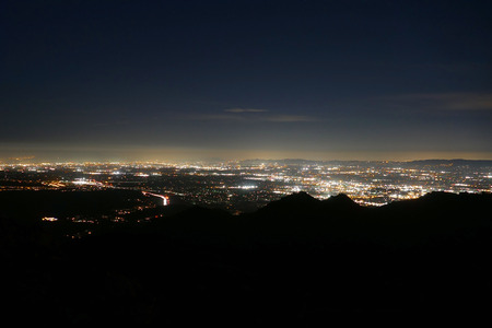Los Angeles at night from Rocky Peak Park in the Santa Susana Mountains. photo