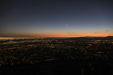 Los Angeles and Pasadena dusk night mountain top view. photo