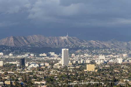 hollywood hills: LOS ANGELES, CALIFORNIA - November 1, 2014:  Storm clouds over Hollywood and the city of Los Angeles. Editorial